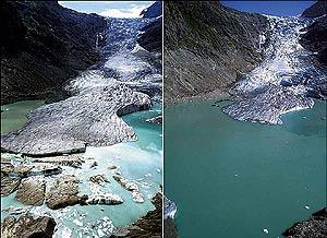 Imágenes comparativas del deshielo en glaciares de los Alpes suizos, en Triftgletscher. (Foto: Jürg Alean)