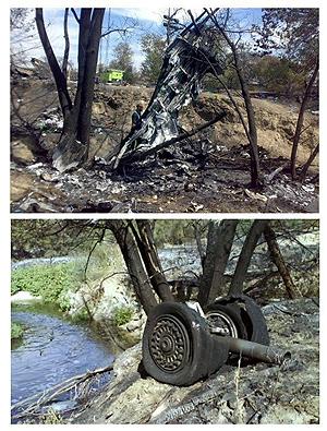 Restos del avión accidentado en Barajas. (Foto: EFE)