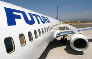 Un avión de la compañía en el aeropuerto de Palma de Mallorca.