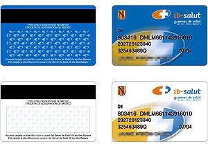 Diferentes modelos de la tarjeta sanitaria.
