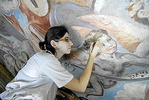 Trabajo de restauracion de la cúpula de la Iglesia del el Real Colegio Seminario del Patriarca. (Foto: Xaume Olleros)