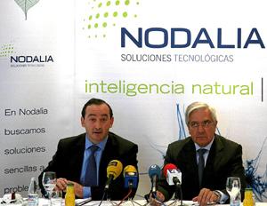 Juan Valentín-Gamazo y Juan Posadas, en marzo de este año cuando presentaron en sociedad el acuerdo de fusión en Nodalia. (Foto: Ical)