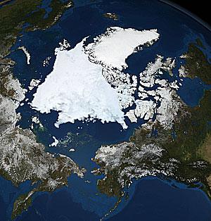 Imagen de satélite tomada por la NASA el 10 de septiembre de 2008 mostrando la máxima extensión del deshielo ártico. (Foto: Reuters)