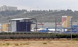 El escenario principal horas antes del concierto de Madonna en Valencia. (Foto: Vicent Bosch)