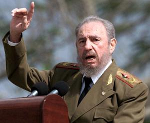 El dictador Fidel Castro con su dedo índice característico.