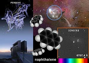 Simulación de la molécula naftaleno hallada en la constelación de Perseo (Foto:IAC)