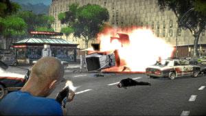 Explosión en plena Plaza Catalunya de Barcelona recreada en 'The Wheelman'. (EL MUNDO)