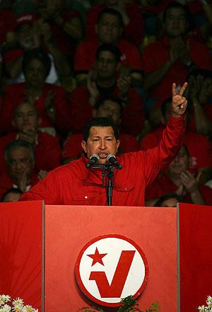Chavez. en el Palacio de Miraflores, durante el acto de inicio de campaña del Partido Socialista Unido de Venezuela (PSUV). (Foto: EFE)