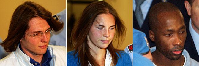 Los sospechosos del asesinato de Meredith. De izda. a drcha. Sollecito, Knox y Guede. (Fotos: REUTERS | AFP)