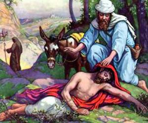 Ilustración sobre la parábola del Buen Samaritano.