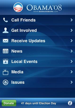 Aspecto de la aplicación de Obama para el iPhone.