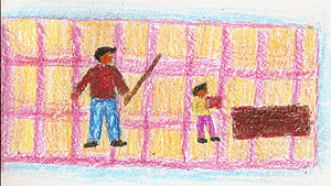 Este niño se pintó a sí mismo trabajando en una ladrillera y amenazado por un adulto que blande un palo. MÁS IMÁGENES