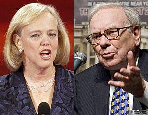 Whitman y Buffett, 'candidatos' a un cargo público. (Fotos: REUTERS/AP)