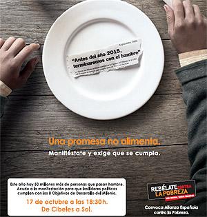 Cartel de la manifestación contra la pobreza que tendrá lugar en Madrid.