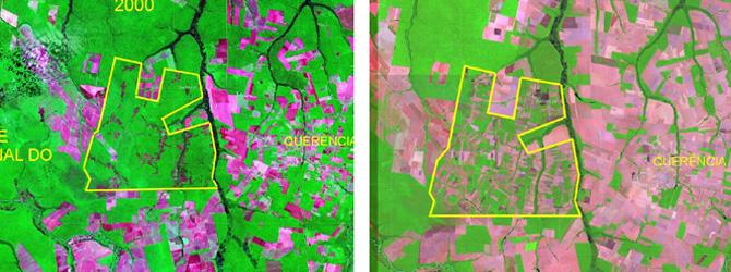 Imagen por satélite de un área del estado de Mato Grosso en el año 200 y en el 2007 (Foto: Univ. de Sao Paulo)