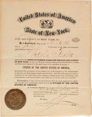 Certificado de ciudadananía de Tesla en Estados Unidos, en 1891. (Foto: Museo de Historia de Croacia)