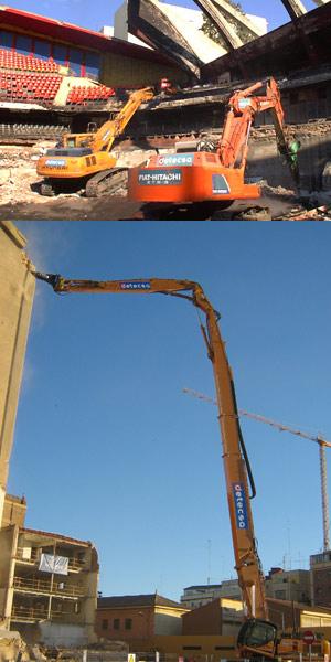 Demolición con maquinaria pequeña (arriba) y grande. (Foto: Detecsa)