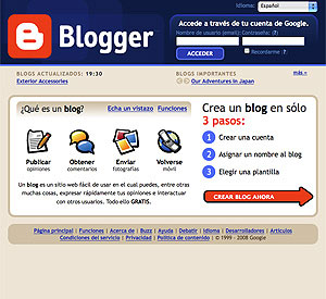 Pantalla de inicio de Blogger, uno de los sitios de publicación de blogs más populares.