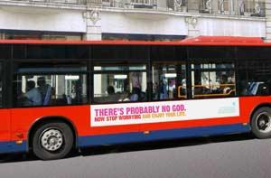 Montaje del cartel que se colocará en los autobuses cuando empiece la campaña publicitaria. (Foto: Atheist Campaign)