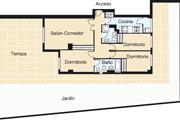 Vivienda de planta baja de tres dormitorios y dos baños.