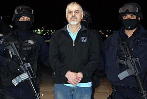 Imagen cedida por la Secretaría de Seguridad Pública (SSP) de Eduardo Arellano Félix, tra ser detenido. (Foto: EFE)