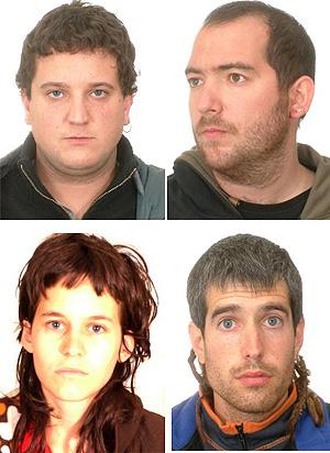 Los detenidos: Aurken Sola Xavier Rey, Araitz Amatría y Sergio Boada (de izq a dcha y arriba a abajo)