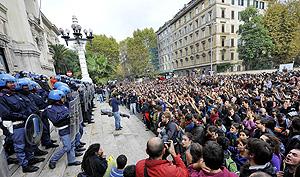 Los manifestantes, este miércoles en Roma. (Foto: AFP)