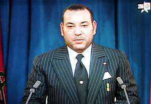 Mohamed VI se dirige a la nación, en una imagen tomada de la televisión. (Foto: AFP)
