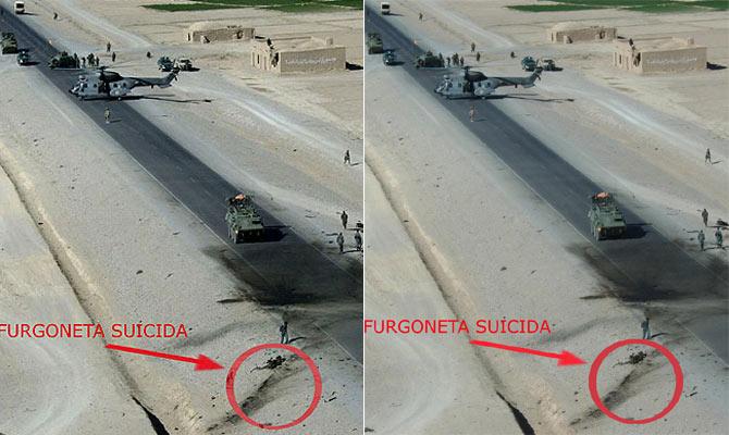 La imagen de la izquierda es la facilitada por Defensa el domingo. En trazado del círculo rojo se aprecian dos sombras que en la imagen de la derecha ya no están.