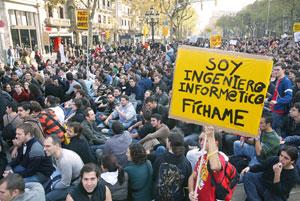 Manifestantes en Paseo de Gràcia (Foto: Domènec Umbert)