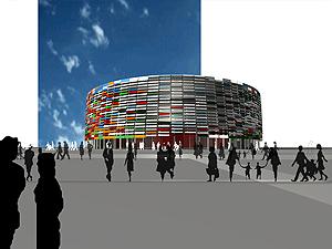 Figuración del proyecto del Palau de la Festa.