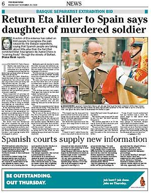 Página de 'Irish News' que recoge la carta de Almudena.