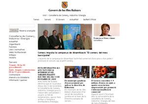 Vista de la página web de la Conselleria de Industria del Govern Balear.