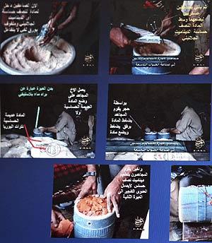 Parte del manual para fabricar bombas que tenían los detenidos. (Foto: REUTERS)