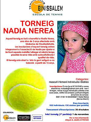 Cartel del torneo de tenis organizado en pro de Nadia (Foto: El Mundo).
