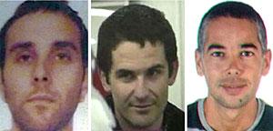 Los etarras detenidos. De izda. a dcha, Iriondo, Zarrabeitia y Artetxe. (Foto: Interior   EFE)
