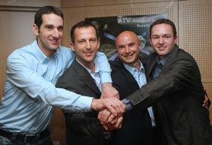 Los cuatro elegidos para simular un viaje a Marte: el alemán Knickel y los franceses Mabilotte, Fournier y Gaillard. (Foto: AFP)