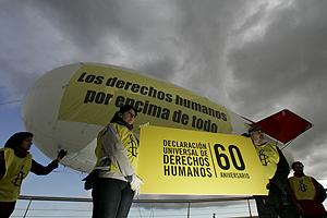 Acto reivindicativo pro derechos humanos en Madrid. (Foto: Javier Lizón)