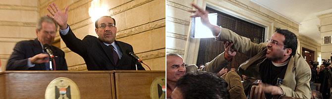 Bush esquiva los zapatos que le lanza el el periodista iraquí. (Fotos: AFP | AP) (Vea la secuencia)