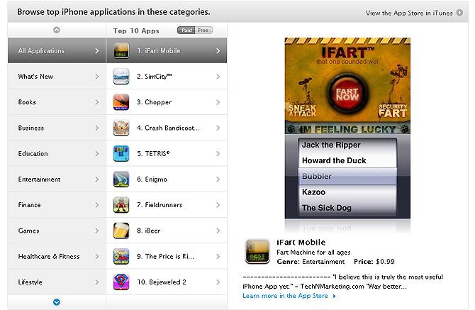 'iFart', destacada en la página principal de la App Store como la aplicación más descargada.