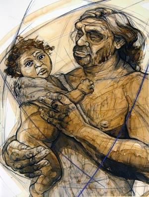 Recreación artística de un hombre de Neandertal con su hijo. (Ilustración: Sonia Cabello)