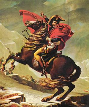 Célebre imagen ecuestre de Napoleón.