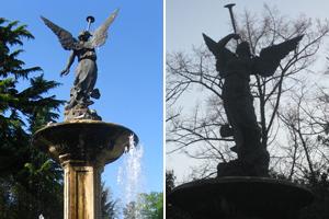 Dos imágenes de la Fuente de la Fama, la de la derecha sin el brazo izquierdo.