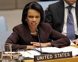 Condoleezza Rice, durante la reunión del Consejo de Seguridad. (Foto: EFE)