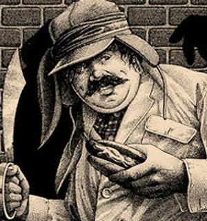 Ilustración del protagonista de 'La conjura de los necios' de las portadas de Anagrama.