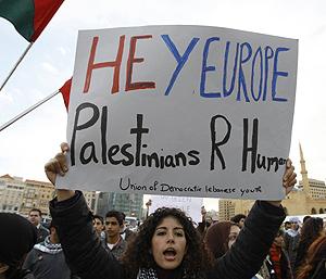 Protesta en el Líbano contra la ofensiva israelí en Gaza, (Foto: AFP)