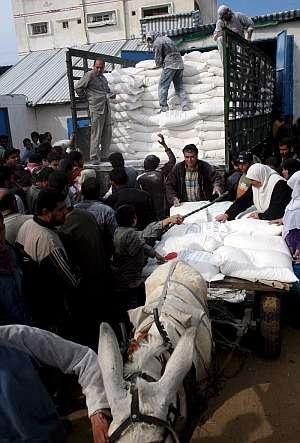 Palestinos recogen sacos de harina en el almacén de la agencia de la ONU para los refugiados palestinos (UNRWA). (Foto: EFE)