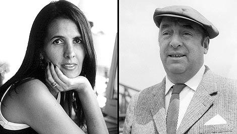 Pablo Neruda (dcha.). A la izda, la autora real del poema, Martha Medeiros. (Foto: EFE)