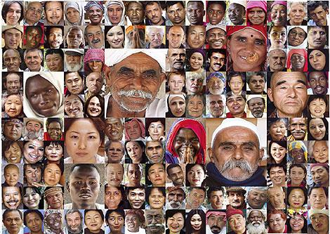 Mosaico de algunos rostros que participan en la exposición.