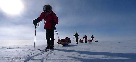 Los expedicionarios de camino al Polo Sur. (Foto: La Caixa)